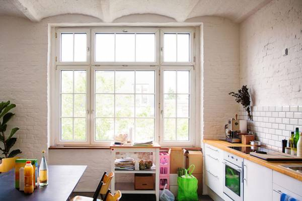 White framed windows in a kitchen